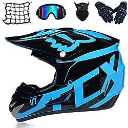 Adulte Casque Moto Cross - Noir et Bleu/Dot - Casque Motocross Enfant, Casque VTT Integral Set Casque BMX Quad Enduro ATV Scooter avec Goggle/Gants/Masque/Filet à Elastique,L