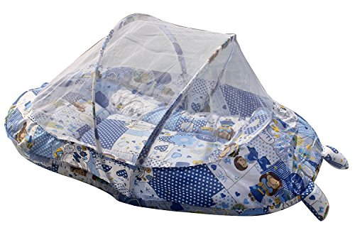 Baby Mosquito net for Babies, Bed Cotton - Padded Pillow Infant Mattress Portable Tent Sleepwear Blue Color