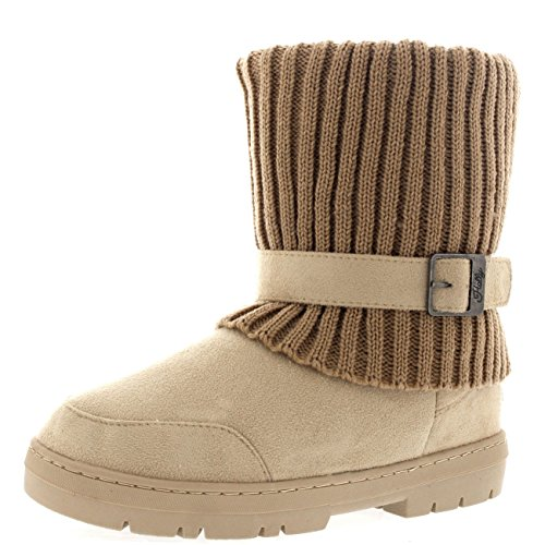 Holly Damen Knitted Cardy Cuff Schnalle Strap Winter Schnee Warm Pelz Gefüttert Stiefel - Beige Gestrickt - BEK41 AEA0373 (Cuff Pullover Boot)