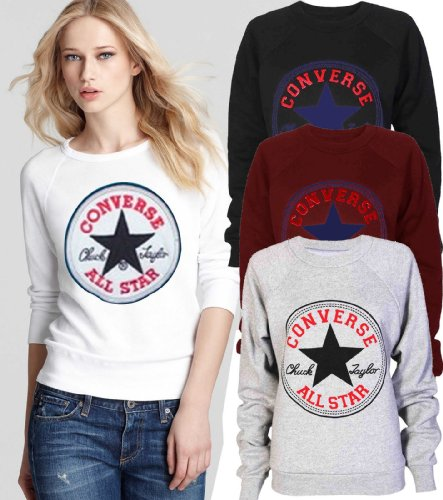 Generic - Sweat Shirt Femme Fille Design Converse All Star Noir Noir