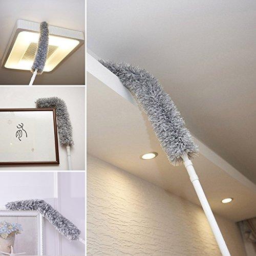 Houseables Cobweb Duster con asta estensibile REACH 127cm–177,8cm pieghevole, allungabile, Fluffy Feather Duster, con manico lungo Spolverino per uso interno tetto, ventilatore da soffitto–asciutto o bagnato