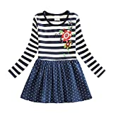 Eagsouni Mädchen Baumwolle Blumen Langarm T-shirt Kleid