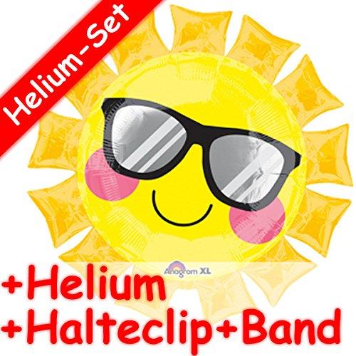 Carpeta SuperShape Folienballon * Gelbe Sonne * + Helium FÜLLUNG + Halte Clip + Band für Geburtstag und Jubiläum // Aufgeblasen mit Ballongas // Deko Geburtstag Folien Ballon Luftballon Sonnenbrille