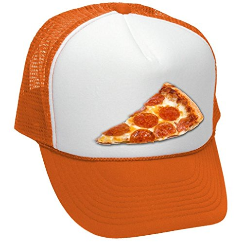 Food Cart Design (Facsea PIZZA - food truck concession cart hot dog - Adult Trucker Cap Hat Neon Orange)
