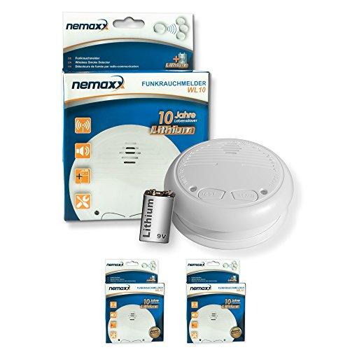 2x Nemaxx WL10 Funkrauchmelder - mit 10 Jahre Lithium Batterie Rauchmelder Feuermelder Set Funk...