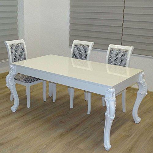 Euro Tische Esstisch Größe 160 x 90 cm, Weiß Hochglanz mit Kratzfestem Lack in Modern Barock...