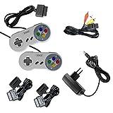 Super Nintendo AV Cinch Kabel+Netzteil+2x Controller+2x Verlängerung für SNES