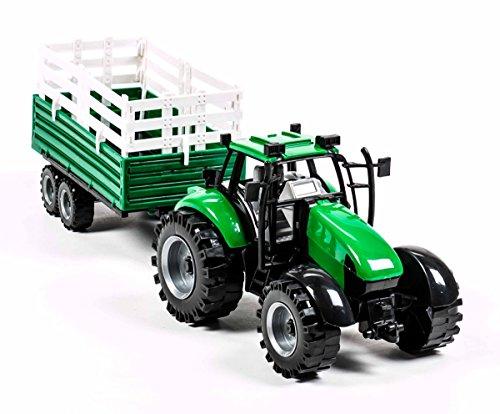 Gear Box Traktor, Abnehmbarer Anhänger, 2-teilig, Länge ca. 40 - 42 cm, lieferbar 4 Varianten (Grün (Dreiseitenkipper))