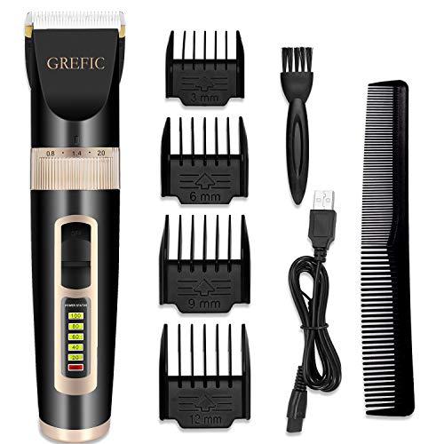 GREFIC Haarschneidemaschine Akku Herren Haarschneider Männer Elektrischer Haartrimmer Haarscherer Gesichtshaartrimmer Profi Edelstahlkeramikklingen mit 4 Aufsteckkämmen