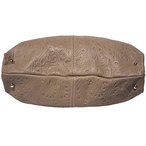 Borsa hobo a spalla in pelle stampato 8001s Tortora-cuoio