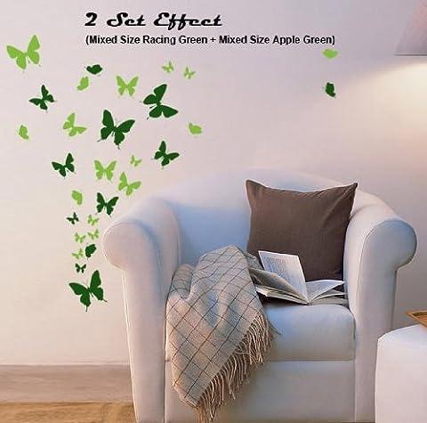 Mixtes papillons art de mur de la fenêtre de bricolage stickers autocollant en vrac, Verte forêt, 34 Papillons Mixtes(22 Petit,10 Moyenne,2 Grande)