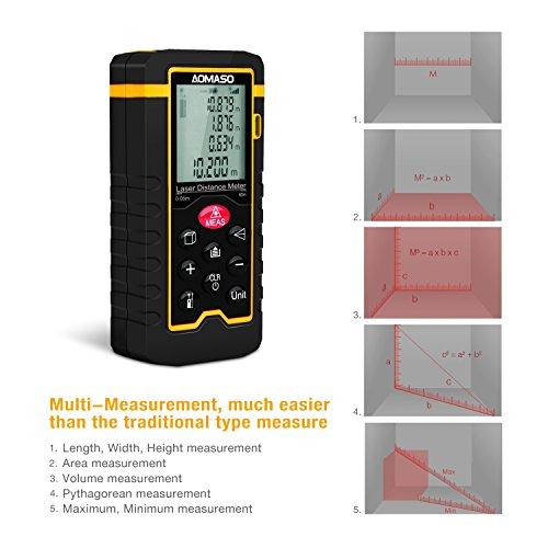 Aomaso - Medidor de distancia, 60m, mini, manejable, digital, láser, con gran pantalla LCD con retroiluminación