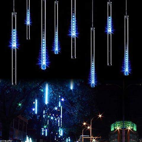 Lichterregen Lichterkette 30cm Meteorschauer Röhren 8 Tube 144 LEDs 100V-240V Deko Leuchten LED für Außen Garten Bäume Weihnachten Dekoration EU Stecker XINBAN (Blau)