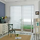 KLEMMFIX Tag & Nacht Duo Rollo Easyfix Variorollo Mini Ohne Bohren, Doppelrollo für Fenster & Türen, Moderner Sichtschutz, Seitenzugrollo & Jalousie Weiß HxB 220x90 cm