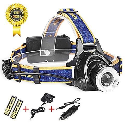 Happytop lampe frontale Phare LED Lampe de poche 4000LM XM-L T6Lampe frontale Head Light Lampe avec chargeur de batteries, bleu