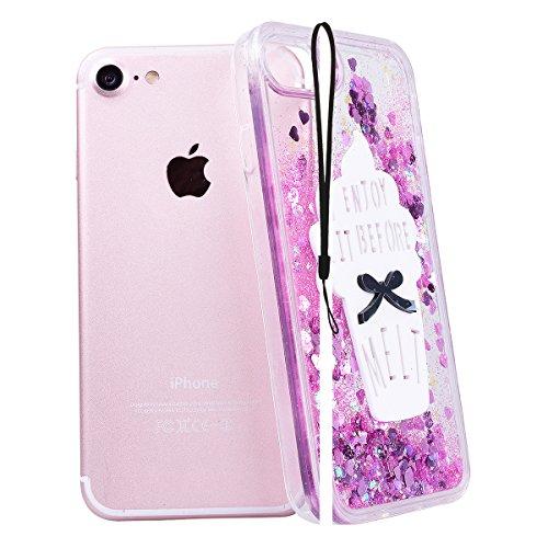 WE LOVE CASE iPhone 7 Coque, Étui Transparente de Protection en Premium Hard Plastique Dur Housse Liquide et Clair, Bumper Bling Cas Briller Couverture avec Paillette Ecoulement Flottant Motif Brillia Rose noir