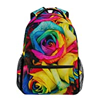 TIZORAX Rainbow Stripes Backpack School College Bag Bookbag Hiking Travel Rucksack for Women Men