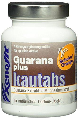 Xenofit GUARANA PLUS KAUTABLETTEN | 30mg Koffein je Tablette | mit Magnesiumcitrat | mit Vitamin C | mit Zink | 40 Stk. | Schoko/Orange-Geschmack -