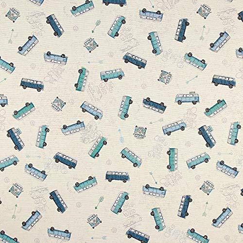 Jacquard-stoff-tasche (Fabulous Fabrics Jacquard Gobelin Bulli VW - blau - Meterware ab 0,5m - zum Nähen von Kissen, Taschen und Vorhänge)