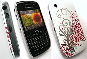 EMARTBUY BLACKBERRY 8520 CURVE / 9300 CURVE 3G RED FLOWERS SUPER SLIM CLIP ON PROTECTION CASE/COVER/SKIN + SCREEN PROTECTOR