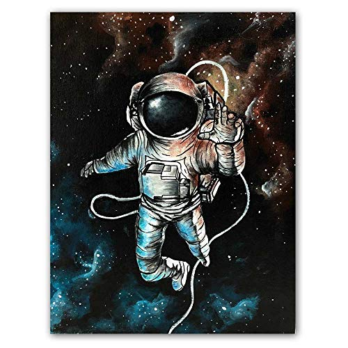 Baodanla Sin Marco Astronauta Space Dreaming Stars Limit Oil ng Canvas Res de Pared para Sala de Estar...
