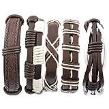 Herren Armband Set Lederarmbänder Geflochten Seil...