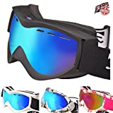 Rayzor Unisex Youth Fog, UV400 Protection, Ventilated Goggles | Comfortable, Shatterproof for Skis, Snowmobiles, Snowboards | Anti Glare Vented Snow Eyewear, Black
