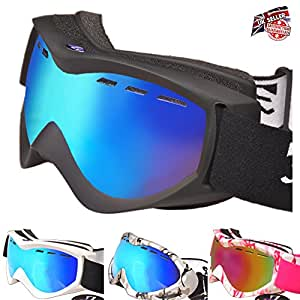 RayZor Ski Snowboarding Goggles | Anti Fog, UV400 Protection, Ventilated Skiing and Snowboard Goggles | Comfortable, Shatterproof For Skis, Snowmobiles, & Snowboards | Anti Glare Vented Snow Eyewear