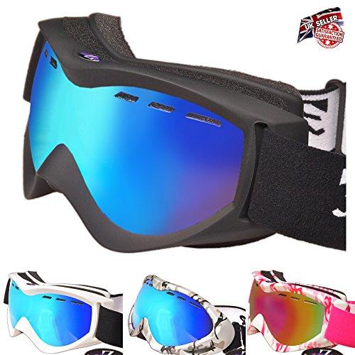 RayZor Ski- / Snowboardbrille - Anti-Beschlag, UV400-Schutz, belüftete Ski- und Snowboard-Brille, bequem, bruchsicher für Skis, Schneemobile, Snowboards, blendfrei, belüftete Schneebrille -