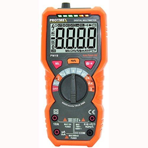 Protmex PM19 Automatische Reichweite Digital-Multimeter, 6000 zählt True RMS DMM Prüfer Nicht kontakt AC Spannungserkennung Ampere Ohm Volt Multi Meter Temperatur, Mit LCD-Hintergrundbeleuchtung