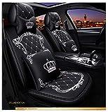 EverFabulous Coprisedili Auto Crown, Sedile Completamente circondato, sedili in Pelle Auto, Pelle PU e Tessuto Traspirante 3D (Lussuoso Nero-Bianco 2)