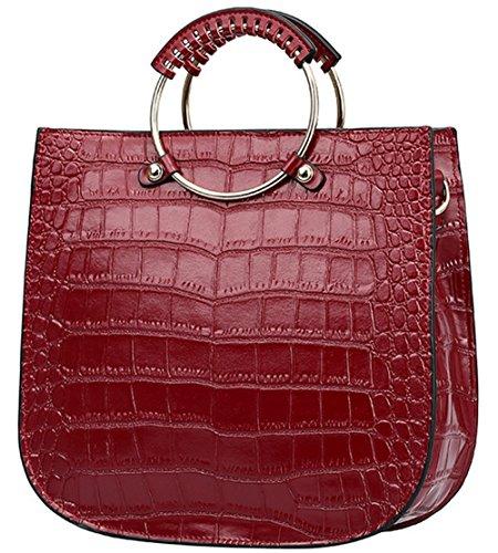 Xinmaoyuan Sacs à main pour femme Sacs à main en cuir de vachette sac à main Sac rétro anneau motif crocodile sac de messager d'épaule Red