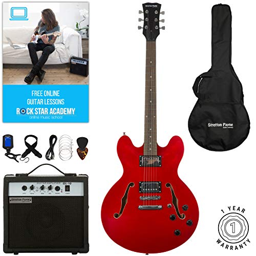 Stretton Payne 335Hollow Body Semi Akustik E-Gitarre mit der Praxis Verstärker, gepolsterte Tasche, Gitarrengurt, Kabel, Plektrum, Stimmgerät, Ersatzsaiten. Gitarre in cherry rot