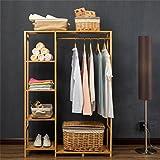 Massivholz Kleiderablage Kabinett-Art Einfacher Massivholz-Mantel-Zahnstange, hängende Kleidung-Rack-Fußboden-Schlafzimmer-Kleidung-Regal Einfacher Einstab Kleiderbügel