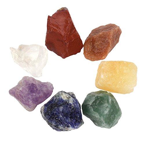 Crystaltears - set di 7 pietre naturali dei chakra, pietre preziose sottoposte a baritura, pietre per la guarigione, cristalli dei chakra per il reiki e senza, colore: 2.41-3.15cm, cod. fpde01843