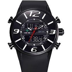 Alienwork DualTime Analogue-Digital Watch Chronograph LCD Wristwatch Multi-function Polyurethane black black OS.WH-3402-B-1