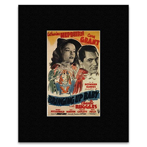 BRINGING UP BABY - Cary Grant and Katharine Hepburn Matted Mini Poster - 18.6x12cm -