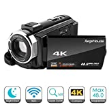 4K Camcorder,RegeMoudal Videocamera WiFi,24MP 16x Zoom Touchscreen Capacitivo Visione Notturna a...