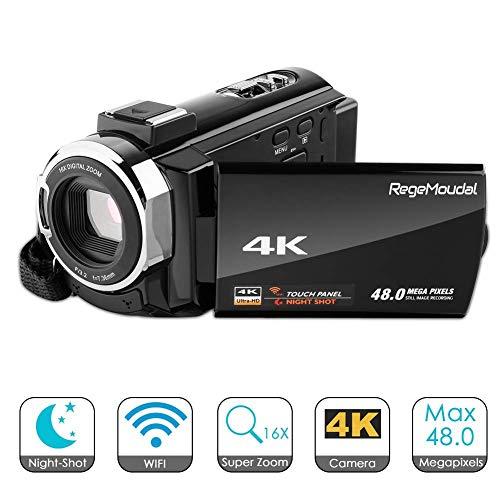 cámara 4k HD 1080P, RegeMoudal videocámara, Lente Zoom 16x, cámara Digital WiFi de 3 Pulgadas, función de visión Nocturna infrarroja Digital con Pantalla táctil Capactive. (Host de cámara 4K)