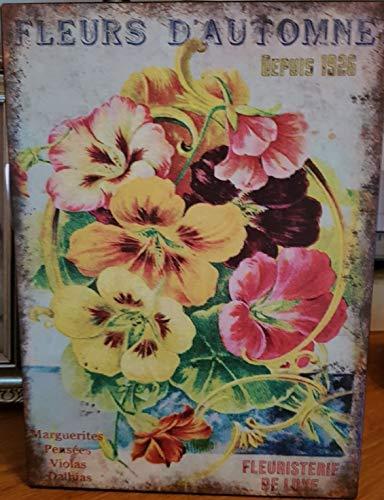 Antic Line Plaque Fleurs d'automne 21 * 15 cm