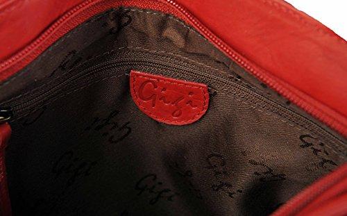 Gigi Othello Vera Pelle Spalla Sezione 2 Borsa Vari Tinte Unite 544 - Marrone Scuro Rosso