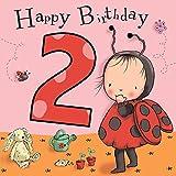 twizler 2nd Birthday für Mädchen mit Marienkäfer–Zwei Jahre–Alter 2–Kinder Geburtstag–Mädchen Geburtstag Karte