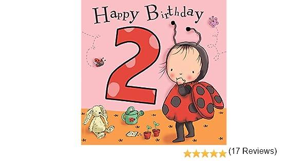 /Two year old Age 2/ /Biglietto di auguri di compleanno della Twizler 2/nd di compleanno per ragazza con coccinella/ /Bambini ragazze/