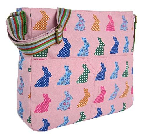 Kukubird Vari Animali E Fiore Crossbody Design Top-manico A Tracolla Del Totalizzatore Pink Rabbit