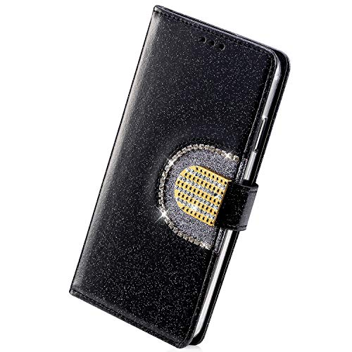 Herbests Kompatibel mit Huawei Honor 7A Handyhülle Bling Glitzer Strass Diamant Handytasche Tasche Lederhülle Wallet Hülle Schutzhülle Flip Case Kartenfächer Magnetverschluss,Schwarz