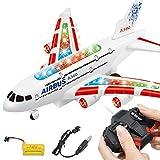 XuBa Toys Rc Flugzeug mit Musik-Lichtern, groß, elektrisch, ferngesteuert, Flugzeug Spielzeug für A380 Airbus, Geburtstag, Weihnachten, Geschenk für Kinder