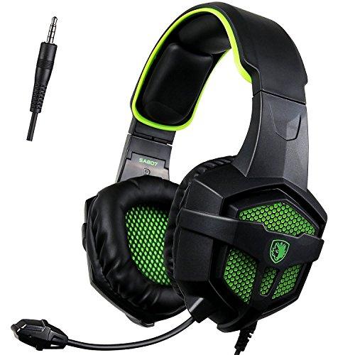 [SADES 2016 Multi-Platform Neue Xbox one PS4 Gaming Headset], SA-807 Green Gaming Headsets Kopfhörer Gaming Kopfhörer mit Mikrofon für Xbox One PS4 PC Laptop Mac iPad Smartphone (Schwarz&Grün)