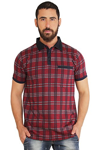 Nucode Mens Jacquard Half Sleeves Tshirt Red