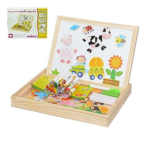 Magnetische Puzzle, 100tlg Lernspielzeug Magnetisches Puzzle aus Holz Spielzeug Holzpuzzles für Kinder ab 3 Jahren - Beliebte Pädagogische Lernspielzeug (Happy Farm)