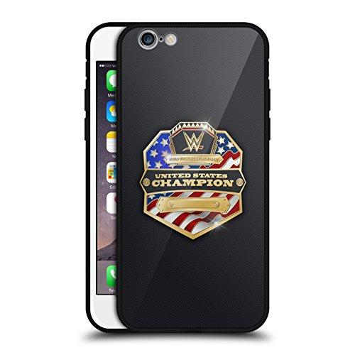 Head Case Designs Offizielle WWE United States Champion Weltmeistertitel Schwarz Rückseiten Hülle aus Hybrid Glass für iPhone 6 / iPhone 6s